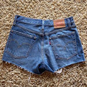 Levi's 501 raw hem cutoff jean shorts